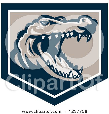 Clipart of a Retro Snapping Crocodile Head in a Shield - Royalty Free Vector Illustration by patrimonio