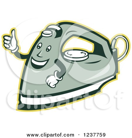 Clipart of a Happy Retro Laundry Iron Giving a Thumb up - Royalty Free Vector Illustration by patrimonio