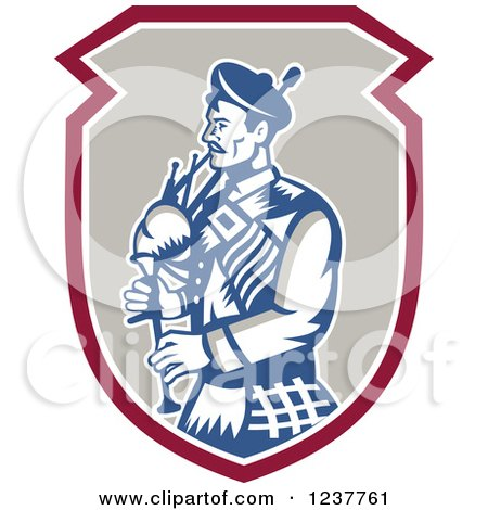 Clipart of a Retro Scotsman Playing a Bagpipe in a Shield - Royalty Free Vector Illustration by patrimonio