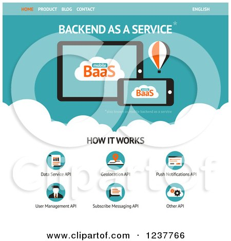 Clipart of a Backend As a Service Website Design Template - Vector and Experience Recommended - Royalty Free Vector Illustration by elena