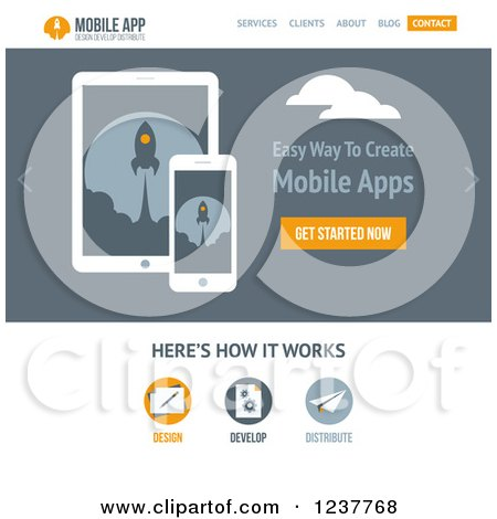 Clipart of a Mobile Applications Website Design Template - Vector and Experience Recommended - Royalty Free Vector Illustration by elena
