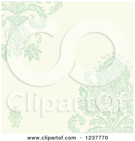 Clipart of a Pastel Green Damask and Beige Invite Background - Royalty Free Vector Illustration by BestVector