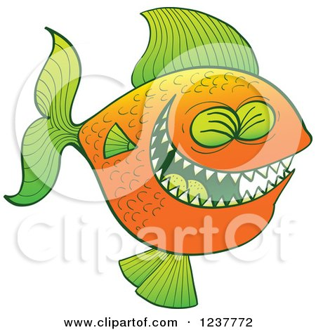 Clipart of a Laughing Green and Orange Carnivorous Fish - Royalty Free Vector Illustration by Zooco