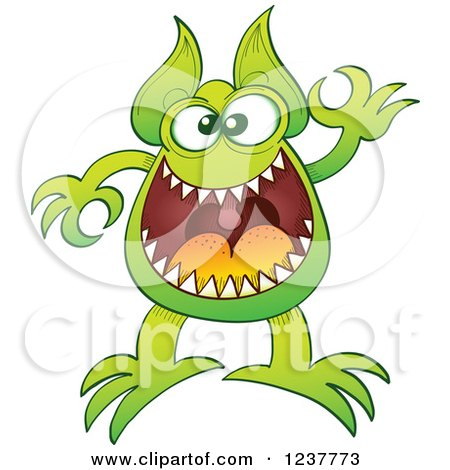 Clipart of a Green Alien or Monster Gesturing Ok - Royalty Free Vector Illustration by Zooco