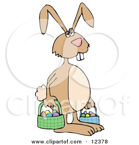 Tired Easter Bunny Carrying Eggs in Baskets Posters, Art Prints