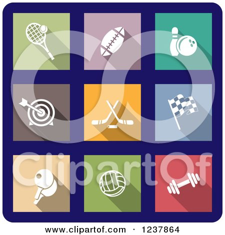 Clipart of a Colorful Sports Icons over Blue - Royalty Free Vector Illustration by Vector Tradition SM