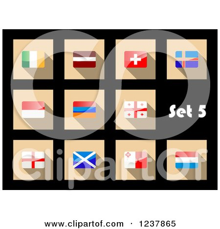 Clipart of National Flag Icons on Black 5 - Royalty Free Vector Illustration by Vector Tradition SM