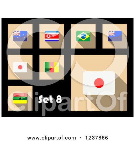 Clipart of National Flag Icons on Black 8 - Royalty Free Vector Illustration by Vector Tradition SM