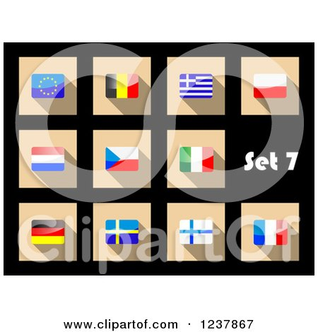 Clipart of National Flag Icons on Black 7 - Royalty Free Vector Illustration by Vector Tradition SM