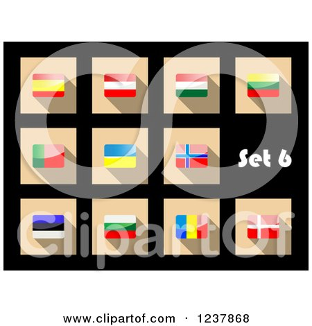 Clipart of National Flag Icons on Black 6 - Royalty Free Vector Illustration by Vector Tradition SM