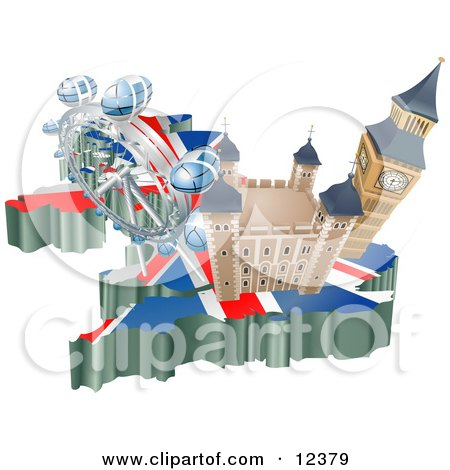 Tourist Attractions in the United Kingdom the London Eye Millennium Wheel, Big Ben and Tower of London Clipart Illustration by AtStockIllustration