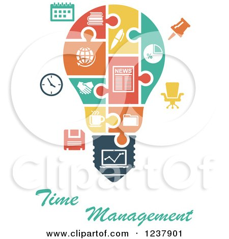 Clipart of a Jigsaw Puzzle Time Management Light Bulb - Royalty Free Vector Illustration by Vector Tradition SM