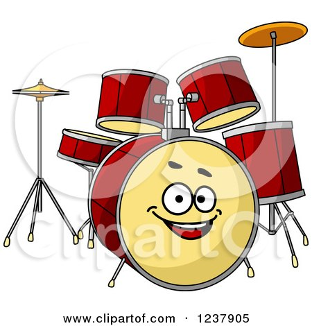 Clipart of a Happy Drum Set - Royalty Free Vector Illustration by Vector Tradition SM