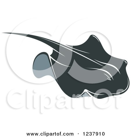 Clipart of a Swimming Stingray Fish 7 - Royalty Free Vector Illustration by Vector Tradition SM