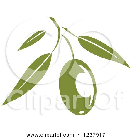 Clipart of a Green Branch with an Olive - Royalty Free Vector Illustration by Vector Tradition SM