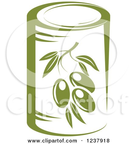 Clipart of a Can of Green Olives - Royalty Free Vector Illustration by Vector Tradition SM