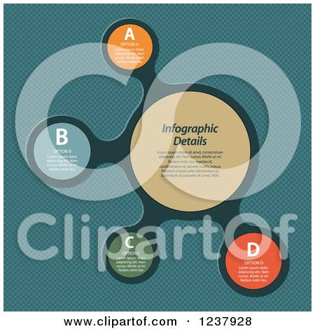 Clipart of Colorful Round Infographic Bubbles on Teal - Royalty Free Vector Illustration by elaineitalia