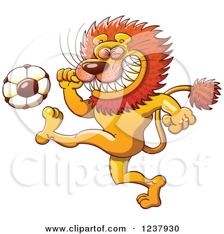 Clipart of a Male Lion Kicking a Soccer Ball - Royalty Free Vector Illustration by Zooco