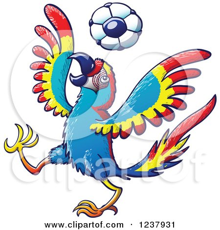 Clipart of a Macaw Parrot Playing Soccer - Royalty Free Vector Illustration by Zooco