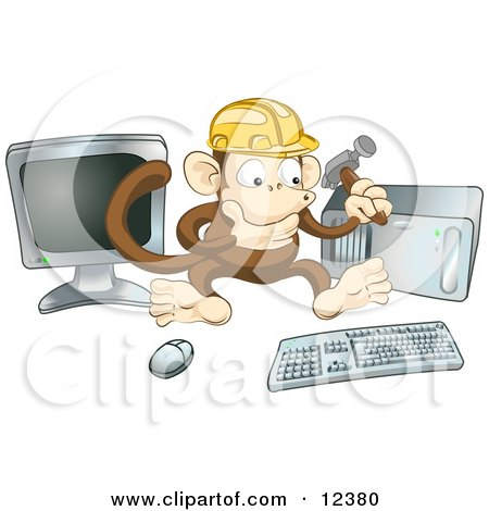Cute Monkey in a Hardhat Working on a Computer to Construct a Website Posters, Art Prints