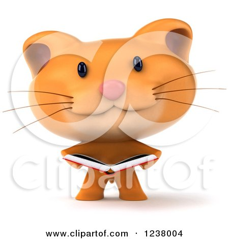 Clipart of a 3d Ginger Cat Reading a Book - Royalty Free Illustration by Julos