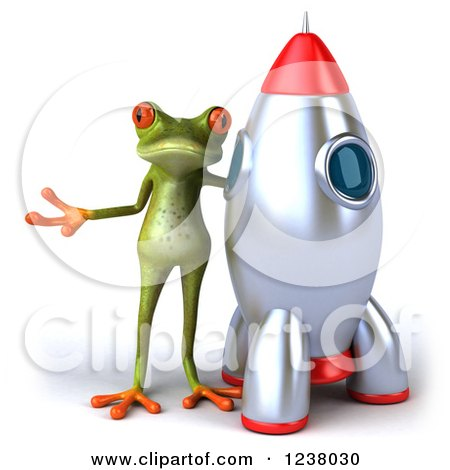 Clipart of a 3d Green Springer Frog Presenting by a Rocket - Royalty Free Illustration by Julos