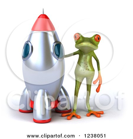 Clipart of a 3d Green Springer Frog Standing by a Rocket - Royalty Free Illustration by Julos