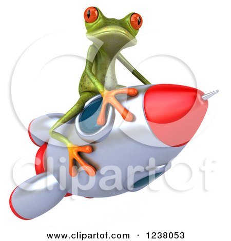 Clipart of a 3d Green Springer Frog Riding a Rocket 2 - Royalty Free Illustration by Julos