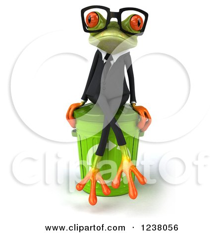 Clipart of a 3d Green Business Springer Frog Sitting on a Recycle Bin - Royalty Free Illustration by Julos