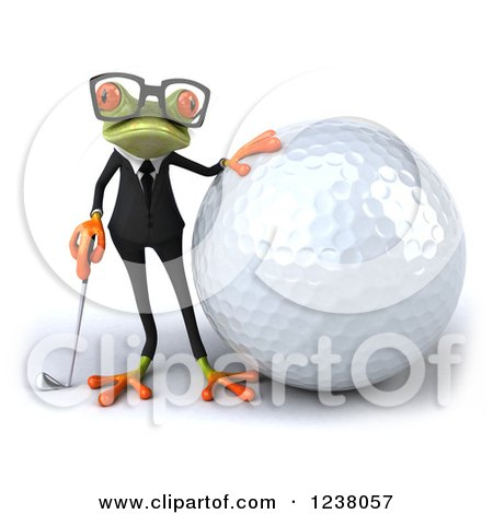 Clipart of a 3d Green Business Springer Frog Golfer with a Giant Ball - Royalty Free Illustration by Julos