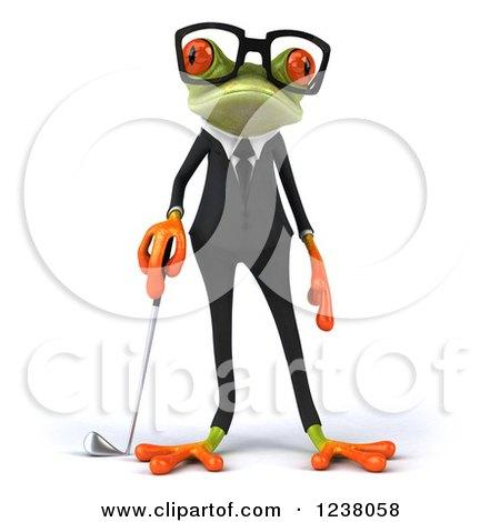 Clipart Of A 3d Green Business Springer Frog Golfer Royalty Free Illustration