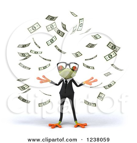 Clipart of a 3d Bespectacled Green Business Springer Frog Making It Rain Money - Royalty Free Illustration by Julos