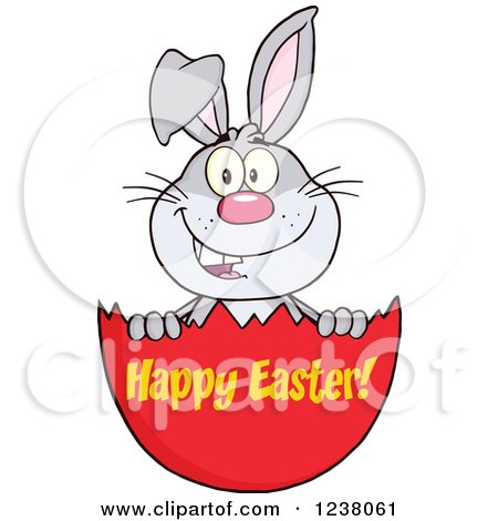 Clipart of a Gray Rabbit in an Egg Shell with Happy Easter Text - Royalty Free Vector Illustration by Hit Toon