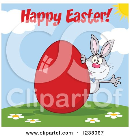 Clipart of a Gray Rabbit with Happy Easter Text and a Red Egg - Royalty Free Vector Illustration by Hit Toon