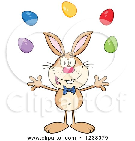 Clipart of a Brown Rabbit Juggling Easter Eggs - Royalty Free Vector Illustration by Hit Toon