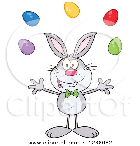 Clipart of a Gray Rabbit Juggling Easter Eggs - Royalty Free Vector Illustration by Hit Toon