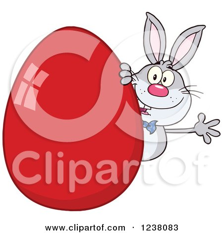 Clipart of a Gray Rabbit Waving Around a Giant Red Easter Egg - Royalty Free Vector Illustration by Hit Toon