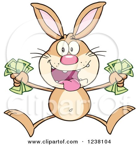 Clipart of a Brown Rabbit Jumping with Cash Money - Royalty Free Vector Illustration by Hit Toon