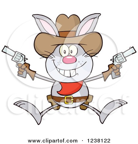 Clipart of a Gray Rabbit Cowboy Jumping with Pistols - Royalty Free Vector Illustration by Hit Toon