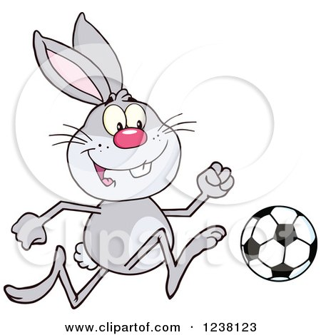 Clipart of a Gray Rabbit Playing Soccer - Royalty Free Vector Illustration by Hit Toon
