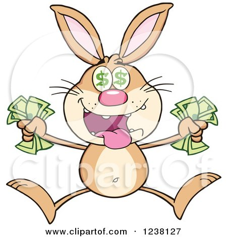Clipart of a Richbrown Rabbit Jumping with Cash Money - Royalty Free Vector Illustration by Hit Toon