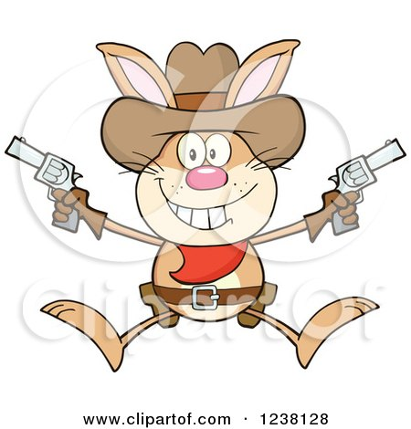 Clipart of a Brown Rabbit Cowboy Jumping with Pistols - Royalty Free Vector Illustration by Hit Toon