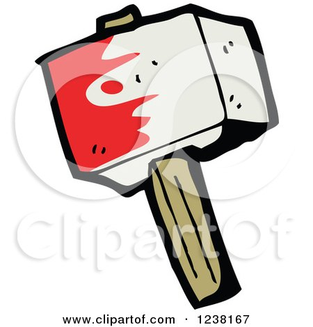 Clipart of a Bloody Hammer - Royalty Free Vector Illustration by lineartestpilot