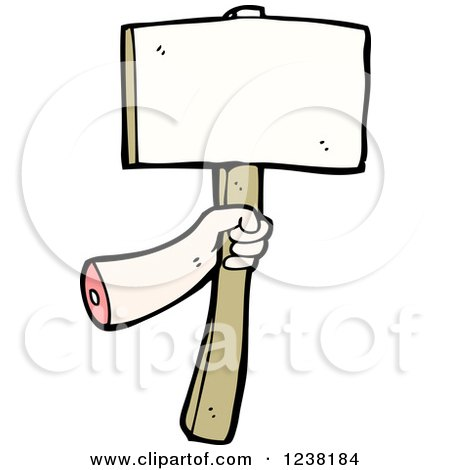 Clipart of a Severed Hand Holding a Sign - Royalty Free Vector Illustration by lineartestpilot