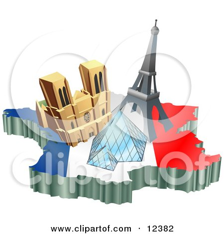 Tourist Attractions of Notre Dame de Paris Cathedral, Eiffel Tower, and the Louvre Pyramid Over a Map and French Flag Clipart Illustration by AtStockIllustration