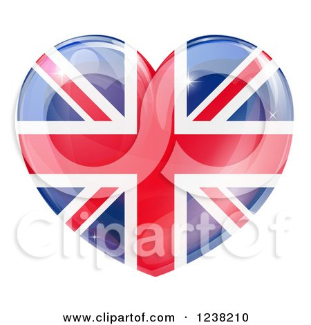 Clipart of a 3d Reflective Union Jack British Flag Heart - Royalty Free Vector Illustration by AtStockIllustration