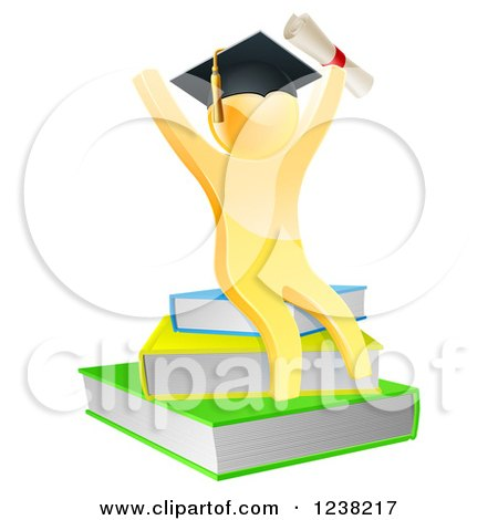Clipart of a 3d Gold Person Graduate with a Diploma, Cheering and Sitting on a Stack of Books - Royalty Free Vector Illustration by AtStockIllustration