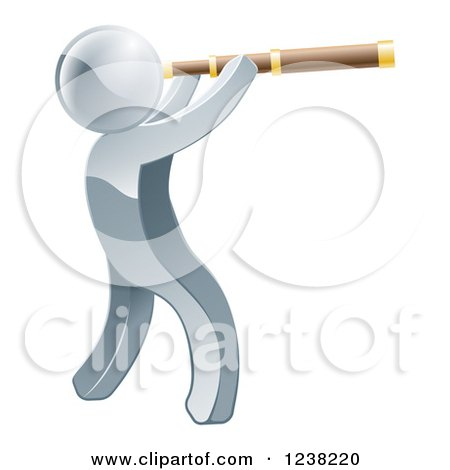 Clipart of a 3d Silverman Viewing Through a Spyglass Telescope - Royalty Free Vector Illustration by AtStockIllustration
