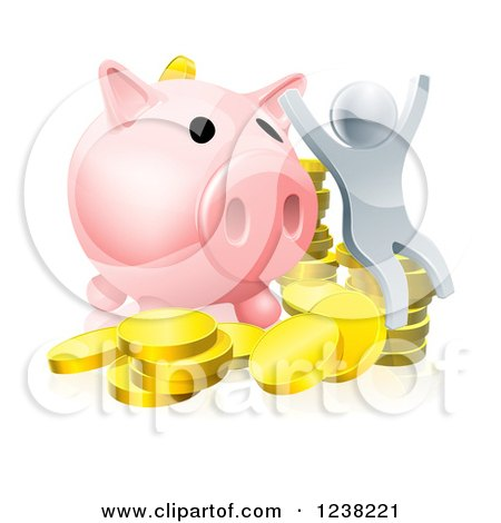 Clipart of a 3d Cheering Silver Man with Coins and a Giant Piggy Bank - Royalty Free Vector Illustration by AtStockIllustration