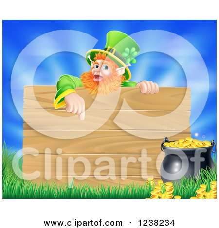 Clipart of a St Patricks Day Leprechaun Pointing down to a Wooden Sign over a Pot of Gold, Grass and Sky - Royalty Free Vector Illustration by AtStockIllustration